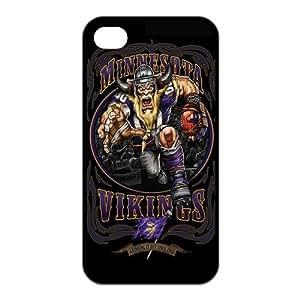 XiFu*MeiBlack NFL Minnesota Vikings Iphone 4 Case TPU NFL Vikings Iphone 4S Cover HD Image Snap ONXiFu*Mei