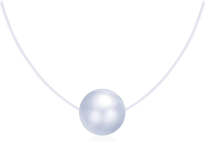 Collares Mujer Niña, Infinito U Collares Invisible Colgantes de Perla, en Plata de Ley 925 Cadena Transparente con Colgantes