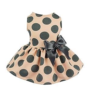 Fitwarm Vintage Pink Polka Dot Dog Dress for Pet Clothes Vest Shirts, Medium