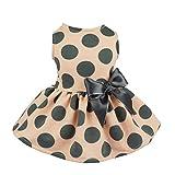 Fitwarm Vintage Pink Polka Dot Dog Dress for Pet Clothes Vest Shirts, XS
