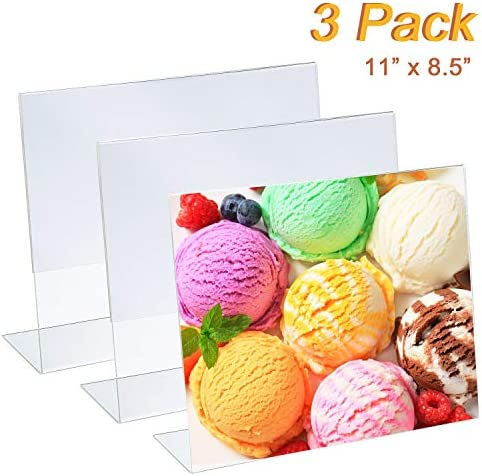 JYW 11x8.5 Inches Acrylic Horizontal Slanted Sign Holders Clear Plastic Sign Display Picture Frames Paper Holder Stands for Restaraunt Office Home Store 3 Pack