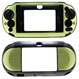 PlayStation PS VITA PSVITA Slim 2000 Case Cover Hybrid Brushed Aluminum Metal Overlay Hard Plastic + Free Screen Protector (2nd Generation, PCH-2xxx Version Only) (Green)