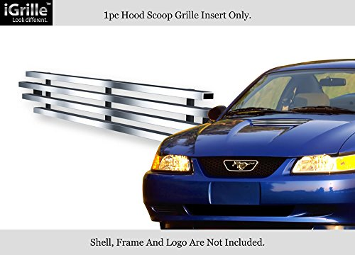 APS Compatible with 1999-2004 Ford Mustang V6 Hood Scoop Stainless Steel Billet Grille Insert N19-C11066F