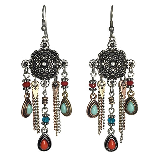 Western look Chain Link Tassel With Bead Dangle Boutique Style Earrings