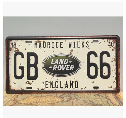 "MAURICE WILKS GB66 LAND ROVER ENGLAND,Vintage Auto License Plate, Embossed Tag Size 6"" X 12"""