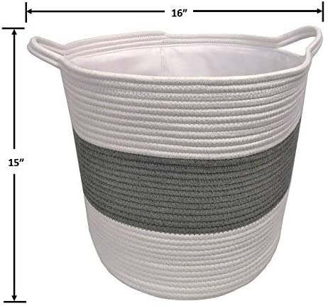 """Large Cotton Rope Storage Basket /& Cotton Liner, Laundry Kids Nursery Durable 16/""""D X 15/""""H Woven Blanket with Handles - Organize Baby Toys Towels"""
