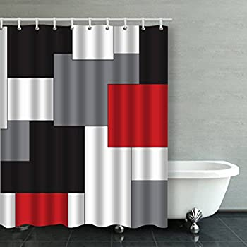 Good Accrocn Waterproof Shower Curtain Curtains Fabric Wavy Vertical Stripes Red  Black White And Grey 60x72 Inches