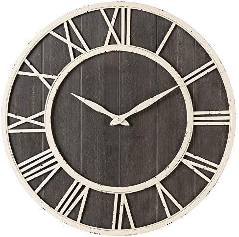Oldtown Clocks Nautical Wall Clock – Metal Solid Wood Noiseless Wall Clock Nautical Grayish Brown, 24-inch