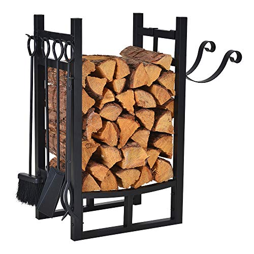 Small Firewood Rack Indoor Outdoor w 4 Tools, Log Rack Fire Wood Holders Storage Carrier by Patio Guarder, Heavy Duty Steel Log Holder with Kindling Holder for Backyard Garden Firepit Fireplace, Black (Holder With Log Tools)