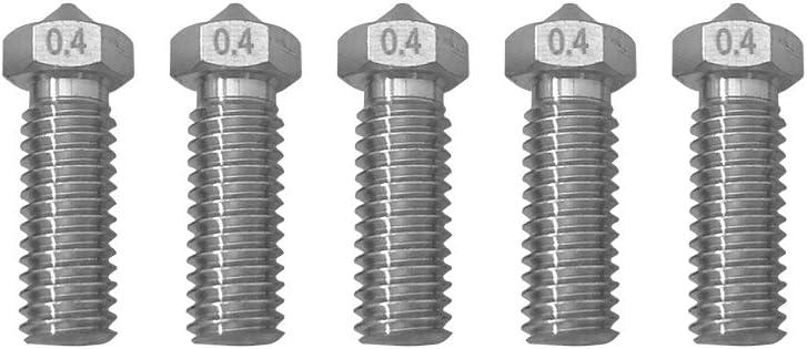 5 unids Volcano Boquilla M6 1.75mm Extrusora Acero Inoxidable//Lat/ón Boquilla 0.2//0.3//0.4//0.5//0.6mm para la cabeza de la impresora 3D