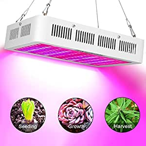 H&Grow 1000W LED Grow Light 3 Chips/Full Spectrum Grow Lamp with UV&IR for Greenhouse Hydroponic Indoor Plants Veg And Flower All Phases Of Plant Growth(15W Leds)