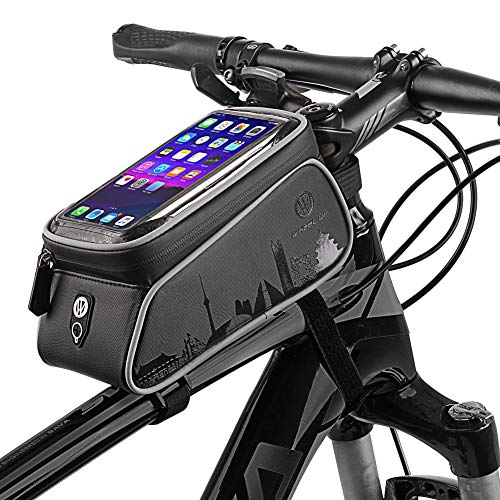Bike Frame Bag, Cycling Frame Pannier Mobile Phone Holde, Waterproof Resistant Cycling Front Tube Frame Pannier Mountain MTB City Road Bicycle Crossbar Bag Pouch Holder for Smartphone,Black