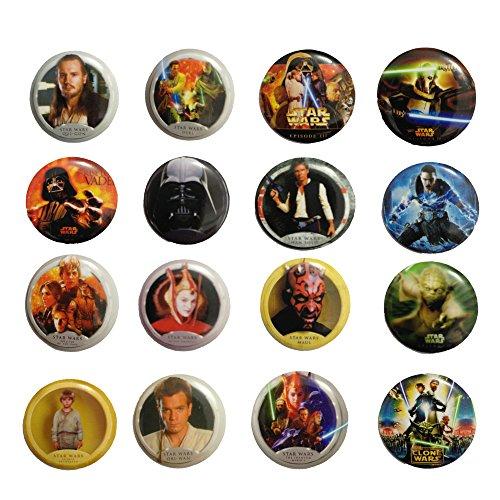 Star Wars 1 1/4 Inch Badge Button Pin Pinback Button Set, 16-pcs