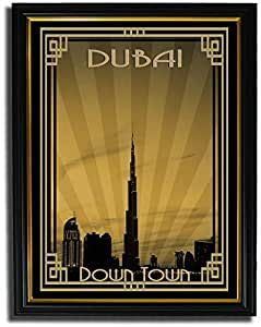 Dubai Skyline Down Town - Sepia With Gold Border F08-m (a5) - Framed