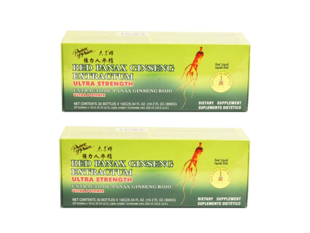 Prince of Peace, Red Panax Ginseng Extractum, Ultra Strength, 2Pack (30 Bottles (10 cc) Each) Yhkvl