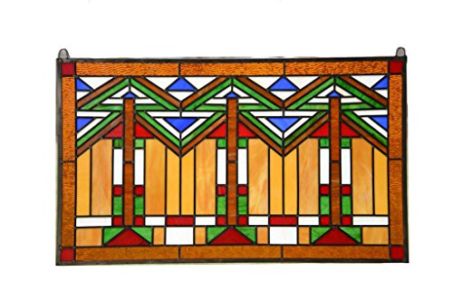 Mission Stained State Glass - Tiffany Style stained glass window panel Mission style panel, 34.5