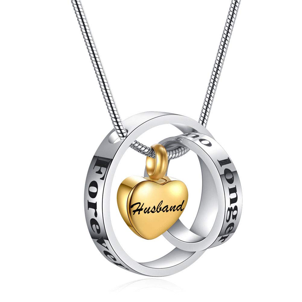 SL Personalized Forever in My Heart Stainless Steel Two Circle Rings Heart Urn Cremation Necklace Charm for Human Pet Ashes Memorial Name Keepsake Locket Pendant for Wife,Husband,Free Engraving