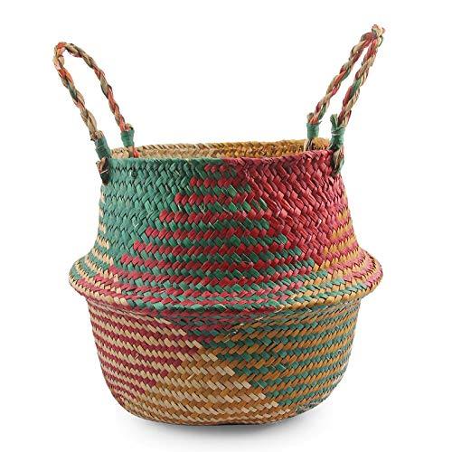 Best Quality - Flower Pots & Planters - Handmade Folding Seagrass Rattan Belly Storage Basket Folding Wicker Flower Pot Hanging Laundry Hamper Storage Straw Basket - by - 1 PCs (Wholesale Hampers Wicker)