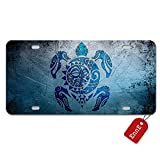 #6: EnnE License Plate Cover, Turtle Totem Metal Car Plate Decorative Front Car Tag 4 Holes 12 X 6 inch