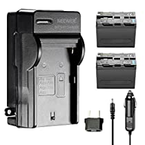 Neewer 2 Pieces 6600mAh Replacement Battery for Sony NP-F970 Li-ion Battery and AC Wall Charger, Car and EU Adapter for Neewer CN160 NW759 74K 760 FW759 74K 760 and Other LED Video Lights or Monitors