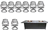 Sunvuepatio 9 Piece Outdoor Dining Set Cast Aluminum Elisabeth Swivels Propane Fire Pit Double Burner Table.