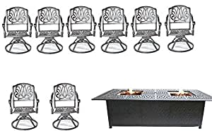 9 Piece Outdoor Dining Set Cast Aluminum Elisabeth Swivels Propane Fire Pit Double Burner Table.