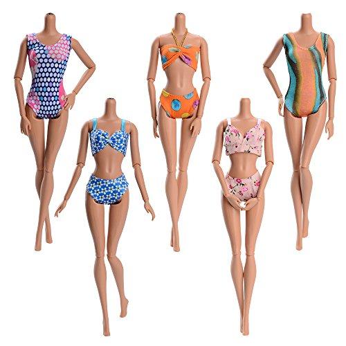 5 Sets Handmade Summer Swimsuits, Beach Bikini, Bathing Clothes for Barbie Doll, Random (Barbie Swimsuit)