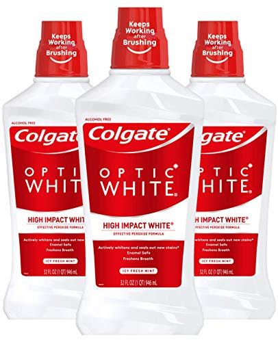 Colgate Optic White Whitening Mouthwash, Fresh Mint - 946mL, 32 fluid ounce (3 Pack)
