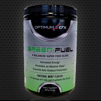 GREEN FUEL - Balanced SuperFood Blend - Natural Mint Flavor - 10+ Servings of Fruits and Vegetables in each Scoop - Tastes Great! - OPTIMUM EFX ()