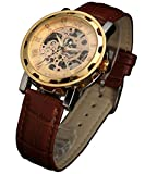 Sewor Mens Skeleton Transparent Mechanical Watch Brown Leather Skeleton Movement (Gold)