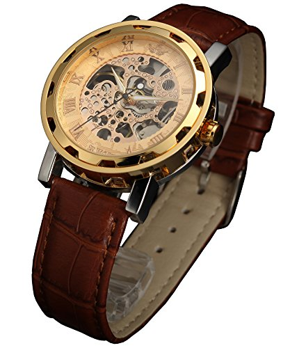 Sewor Mens Skeleton Transparent Mechanical Watch Brown Leather Skeleton Movement (Gold) by SEWOR