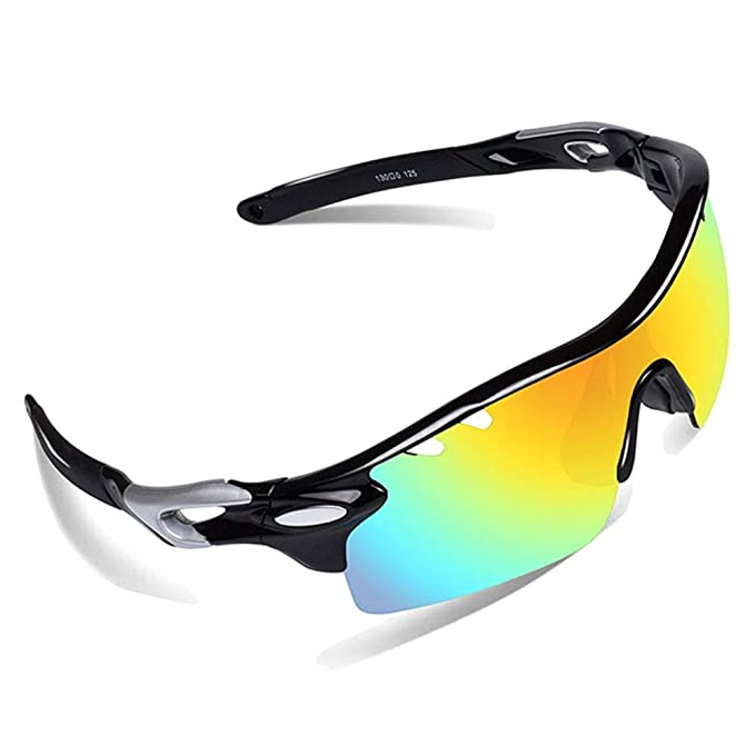 9ba48c8743 Ewin E01 Polarized Sports Sunglasses UV400 Protection for Men Women (Black Black)