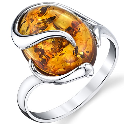 Sterling Silver Baltic Amber Swirl Design Engagement Ring with Cognac Color Large Stone - Ring Stone Swirl