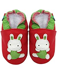 Carozoo Rabbit Red S Baby Girls Soft Sole Leather Shoes Toddlers