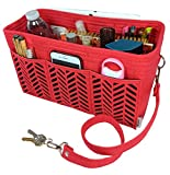 BELIANTO Felt Purse Organizer - Middle Insert, Bottle Holder for Tote Handbag Purse (Herringbone) (Large, Red)