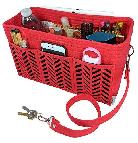Baguette Handbag Bag - BELIANTO Felt Purse Organizer - Middle Insert, Bottle Holder for Tote Handbag Purse (Herringbone) (Large, Red)