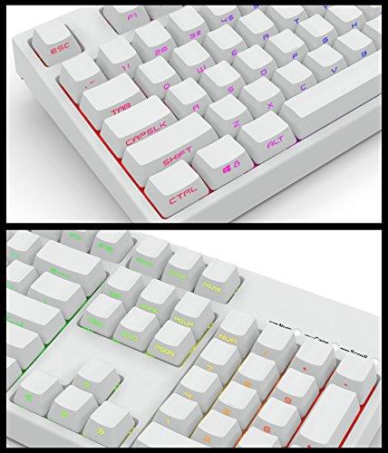 Black White PBT Double Shot 104 Side-lit Shine Through Translucent Backlit keycaps OEM Profile for MX Mechanical Keyboard Filco (White) ()