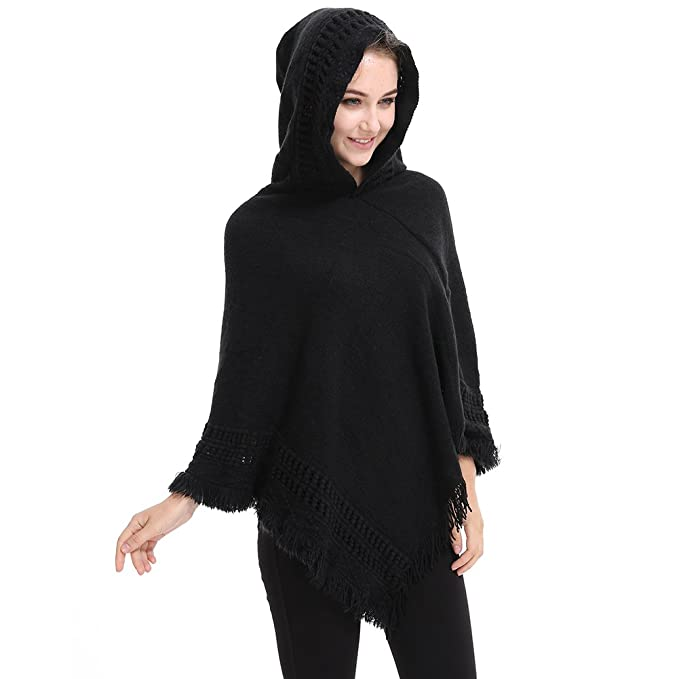 Amazon Ishine Ladies Elegant Hooded Cape With Fringed Hem