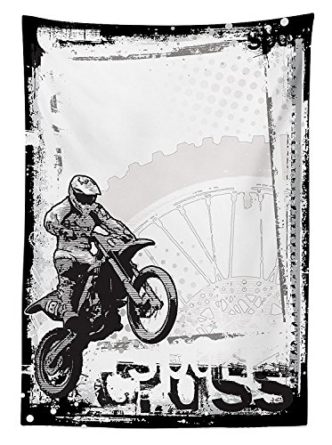 Motorcycle Decor Tablecloth Motocross Racer Image on Grungy Background Poster Style Monochromic Artwork Print Dining Room Kitchen Rectangular Table Cover