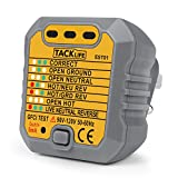Tacklife Outlet Tester Socket Tester Automatic Electric Circuit Detector Polarity Checker Wall Plug Breaker Finder for Correct Wiring Neutral Live Earth Wire Testing(1 Pack)
