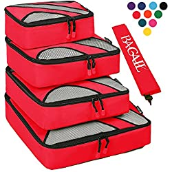 4 Set Packing Cubes,Travel Luggage Packing Organizers with Laundry Bag Red
