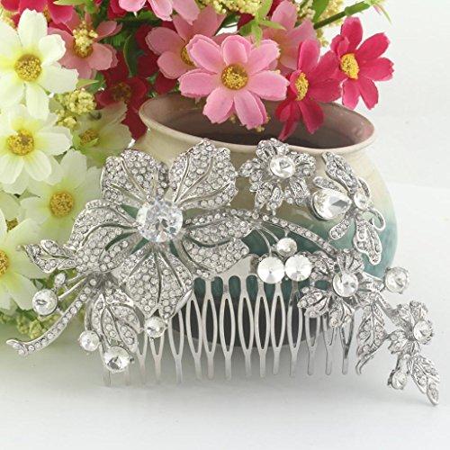 Ever Faith - Peigne à cheveux Autrichien Cristal Big Fleur Clair A12567-1