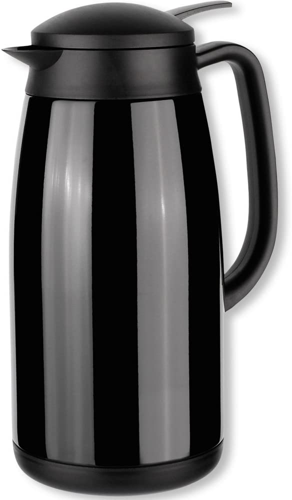 Isosteel Tableline VA-9343K 1.5 L Vacuum-Insulated Can with Quickstop Single-Hand Pouring-System, 18/8 Black Coated Stainless Steel
