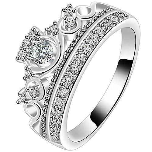 LWJYX Women's White Gold Wedding Engagement Round Crystal Ring for Bridal Princess Crown Tiara Anniversary Band Size 9