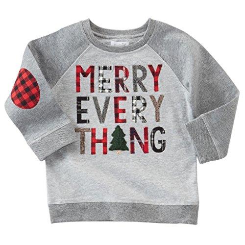 Mud Pie Toddler Boy Christmas Gray Alpine Village Sweatshirt (Small, 2T-3T, Merry) - Alpine Kids Sweater