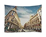 SHADENOV Wall Hanging Tapestry - City Madrid Spain Sky Clouds People Man Woman Sign Signs - Tapestry Art Sets for Home Decor Living Room Bedroom Dorm Decor 80x60 Inches
