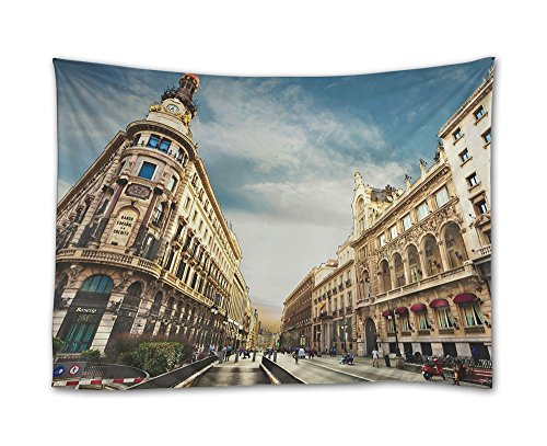 SHADENOV Wall Hanging Tapestry - City Madrid Spain Sky Clouds People Man Woman Sign Signs - Tapestry Art Sets for Home Decor Living Room Bedroom Dorm Decor 80x60 Inches by SHADENOV