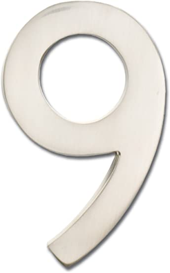 Satin Nickel Architectural Mailboxes 3585SN-9  Brass 5-Inch Floating House Number 9