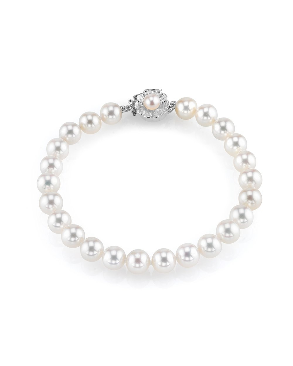 THE PEARL SOURCE AAA Quality 8-9mm Round White Freshwater Cultured Pearl Bracelet with 14K White Gold Flower Clasp in 7'' Length for Women