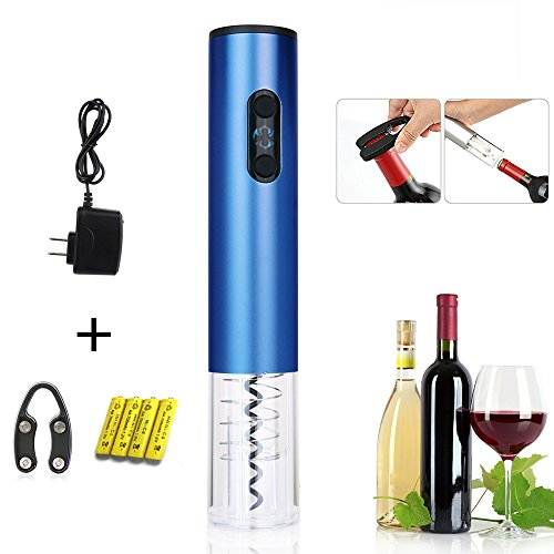 Cordless Automatic Wine Opener, Electric Wireless Bottle Opener with Free Foil Cutter, Aluminum Alloy (Blue)